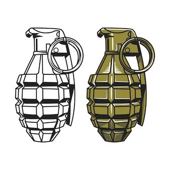 Granada de mano, ilustración de granada militar