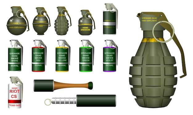Granada de mano realista o granada de humo de mano o gas lacrimógeno antidisturbios