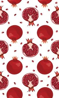 Granada de patrones sin fisuras frutas y semillas.