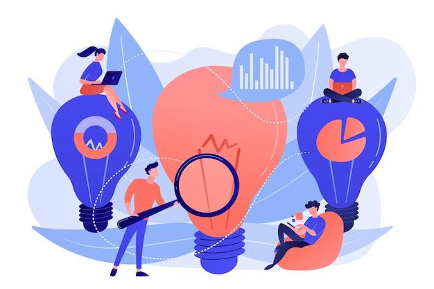 Grandes bombillas y equipo empresarial trabajando en una solución. concepto de solución y soporte empresarial, resolución de problemas y toma de decisiones sobre fondo blanco.