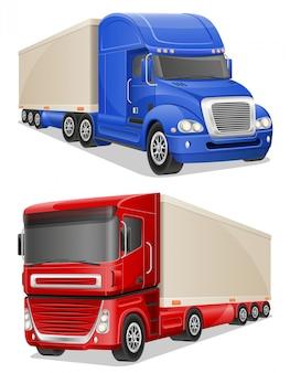 Grandes camiones azules y rojos vector ilustración