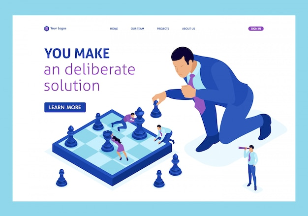 Las grandes empresas isométricas toman una decisión informada, un juego de ajedrez, una estrategia de crecimiento
