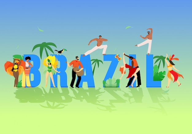Grandes letras inscripción brasil dibujos animados plana.