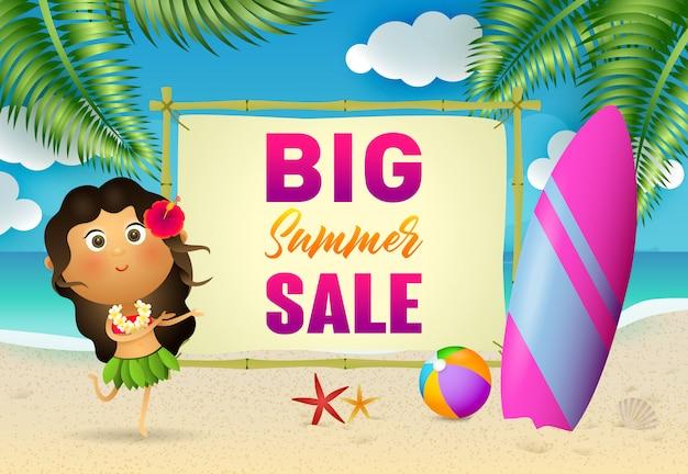 Grandes letras de venta de verano con mujer aborigen y tabla de surf