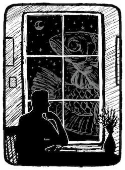 Grandes peces fuera de la ventana. ilustración de vector dibujado a mano en colores monocromáticos. dibujo gráfico retro abstracto aislado en blanco. elemento único de diseño, decoración.