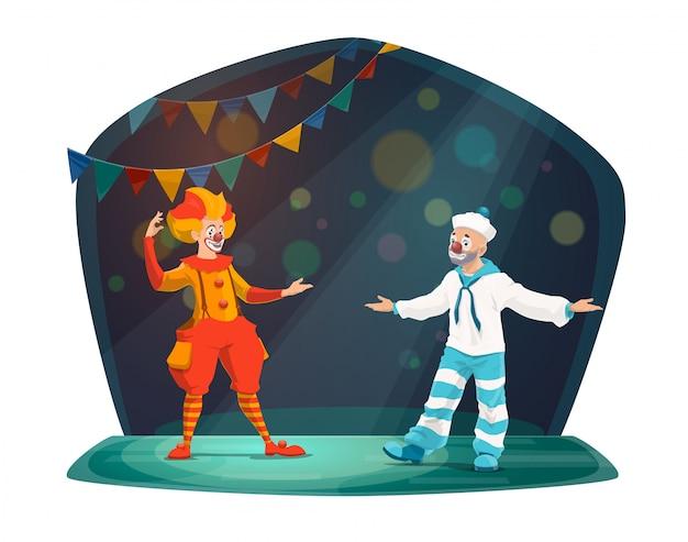 Grandes personajes de artista de payaso de circo en el escenario