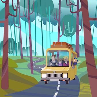 Grandes vacaciones familiares, concepto de viaje por carretera