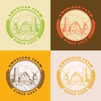 Granero de la granja estadounidense para la agricultura con molino de viento, conjunto de logotipo