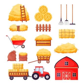 Granero de la granja, tractor, valla, horca, rastrillo, carretilla aislado en blanco