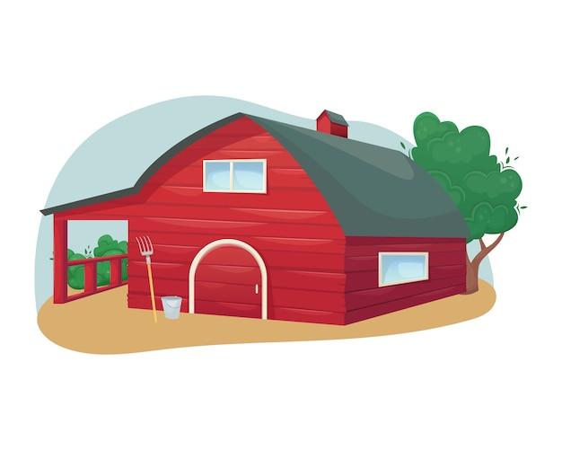 Granero de madera rojo americano tradicional. granja. agricultura, ganadería.