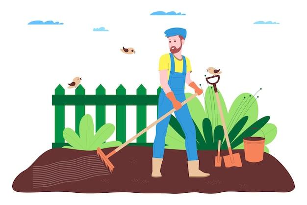 Granja, agricultura y agricultura. un agricultor trabaja en una granja, huerto o huerto: cava el suelo, hace camas, planta plántulas de verduras y frutas y riega las plantas.