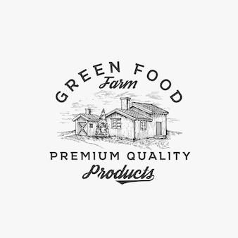Granja de alimentos verdes. plantilla de logotipo. bosquejo del dibujo del paisaje de la granja con