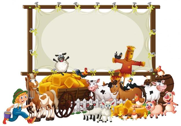 Granja de animales con banner en blanco