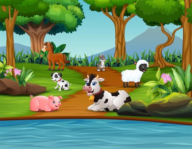 Granja de animales de dibujos animados disfrutando en el parque