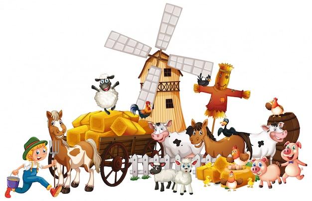 Granja de animales con estilo de dibujos animados de molino de viento aislado