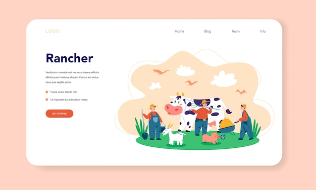 Granja, banner web de granjero o página de destino