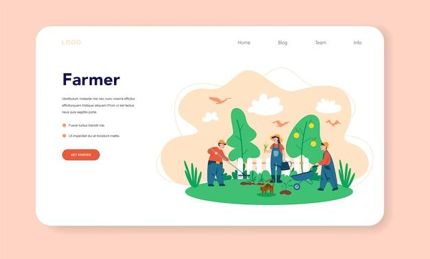 Granja, banner web de granjero o página de destino.
