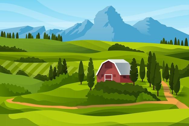 Granja de campo y montañas