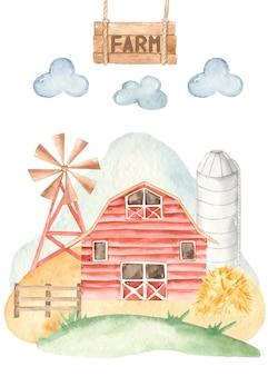 Granja de cartas con granero, bomba de viento, granero en estilo acuarela