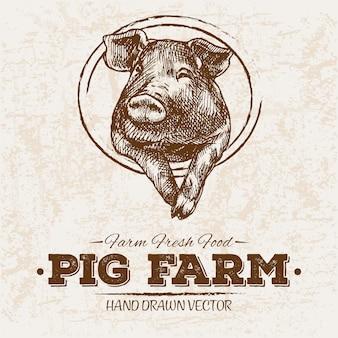 Granja de cerdos dibujados a mano