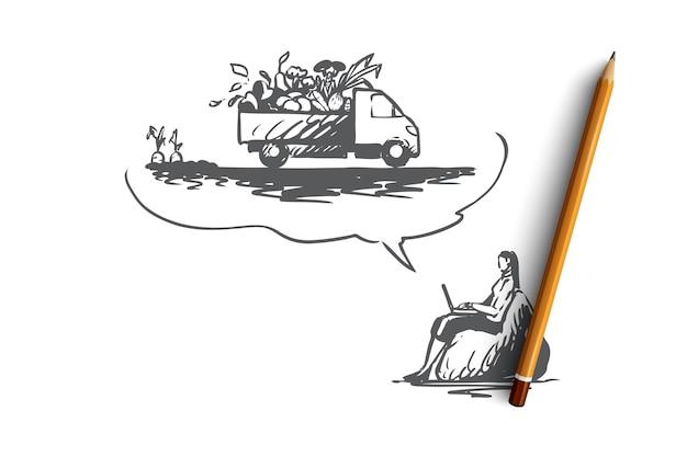 Granja, comida, online, entrega, concepto de negocio. mano dibujada mujer orden alimentos orgánicos en el bosquejo del concepto de internet. ilustración.