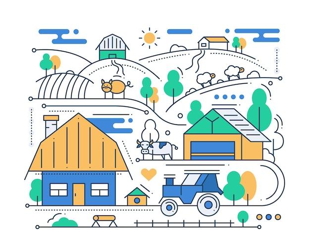 Granja - composición de ciudad de diseño plano de línea moderna con escena rural