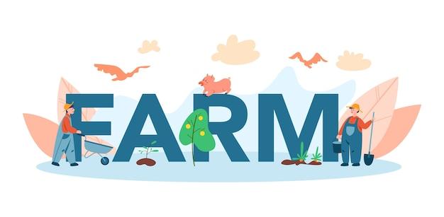 Granja, concepto de encabezado tipográfico de granjero. agricultores trabajando en el campo, regando plantas y alimentando animales. vista al campo de verano, concepto de agricultura. viviendo en el pueblo.