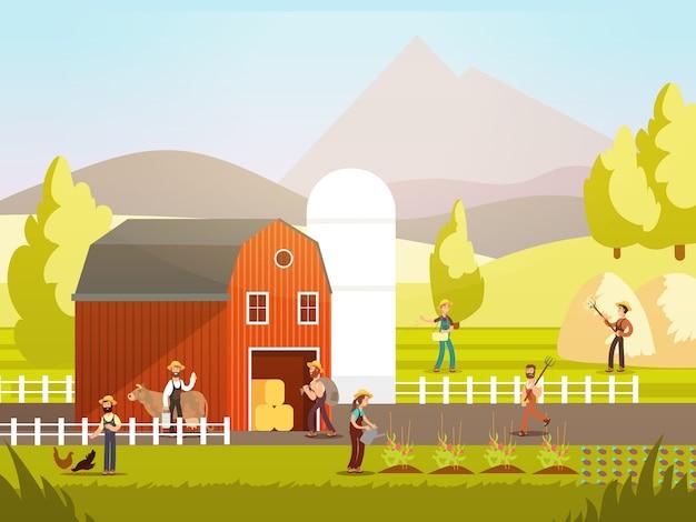 Granja de dibujos animados con granjeros, animales de granja y equipo.