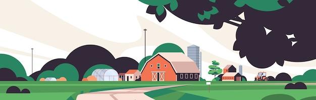 Granja, edificio, casa, orgánico, eco, agricultura, agricultura, concepto, rural, tierras de cultivo, paisaje, horizontal, vector, ilustración