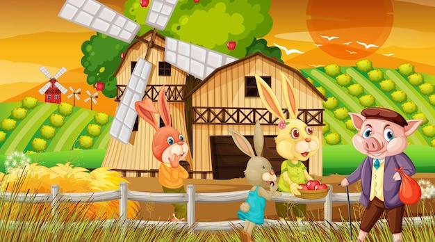 Granja en la escena del atardecer con una familia de conejos y un personaje de dibujos animados de cerdo