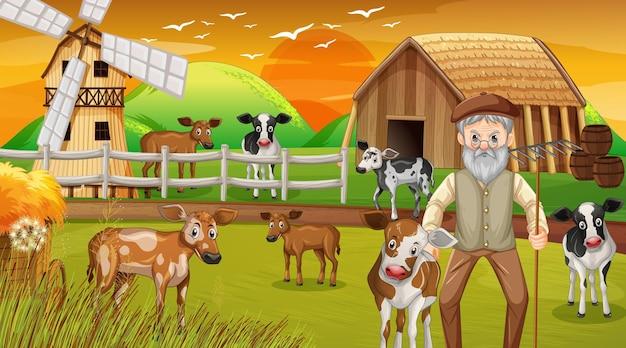 Granja en la escena del atardecer con el viejo granjero y animales de granja