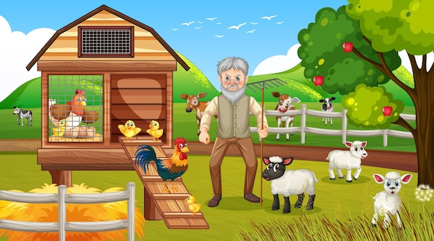 Granja en escena diurna con anciano granjero y animales de granja.
