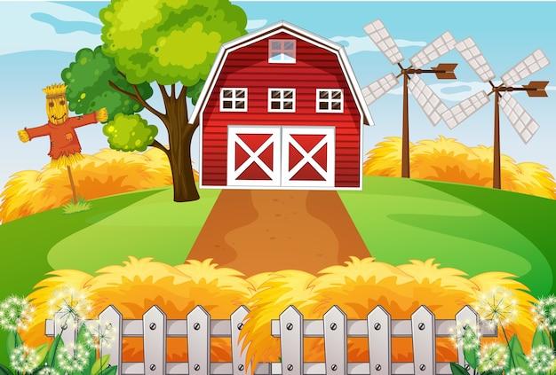 Granja en escena de la naturaleza con granero y molino de viento y espantapájaros