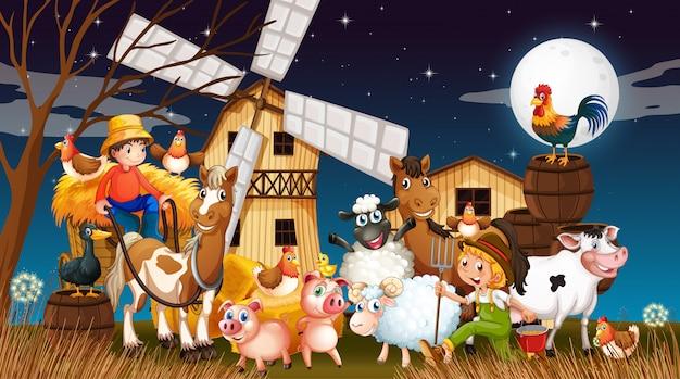 Granja en escena de la naturaleza con molino de viento y granja de animales en la noche