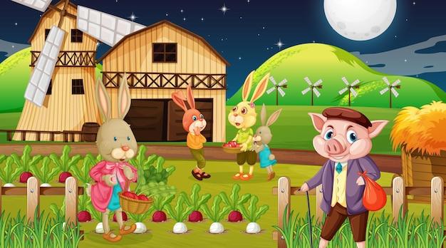 Granja en escena nocturna con familia de conejos y un personaje de dibujos animados de cerdo