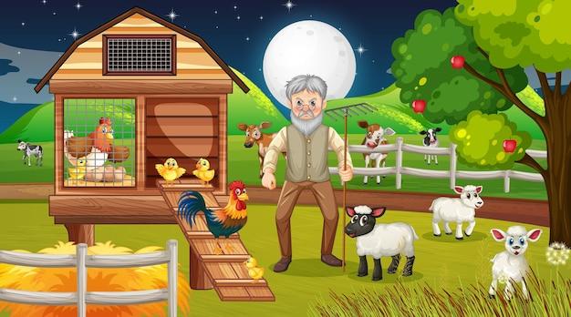 Granja en escena nocturna con viejo granjero y animales de granja.