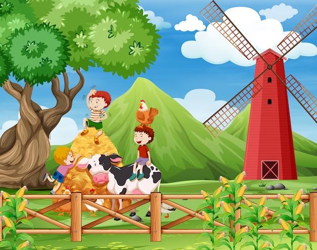 Una granja con escena de vacas