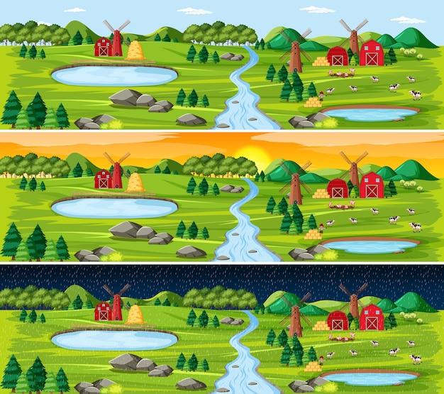 Granja con granero y molino de viento en el paisaje de la naturaleza en diferentes momentos del día