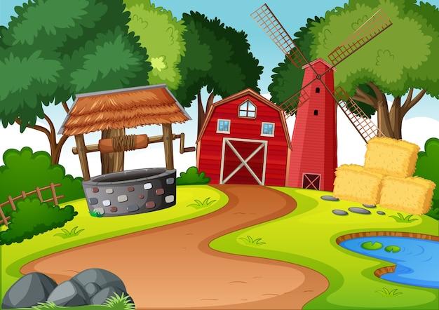 Granja con granero rojo y escena de molino de viento.