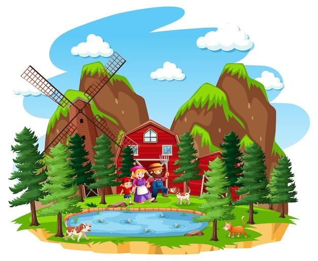 Granja con granero rojo y molino de viento.