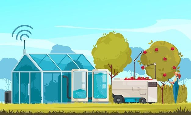 Granja inteligente e ilustración de invernadero inteligente.