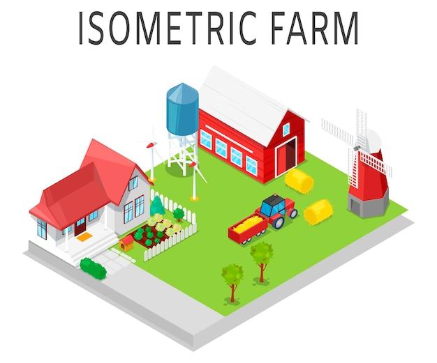 Granja isométrica tractor agrícola rural, casa, molino de viento y almacén.