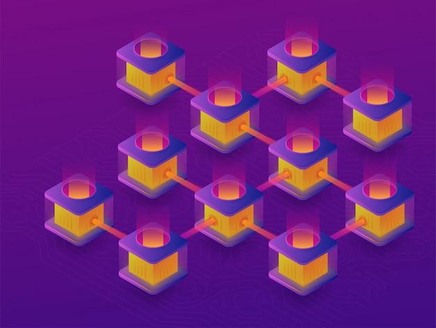 Granja minera de criptomonedas. creación de bitcoins. ilustración isométrica 3d
