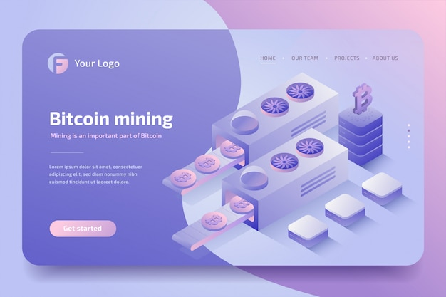 Granja minera de criptomonedas, tecnología blockchain. isométrica