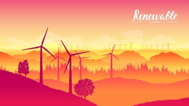 Granja de molinos de viento en un hermoso día brillante. producción de energía eléctrica, generación de electricidad.