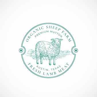 Granja de ovejas enmarcada insignia o logotipo retro
