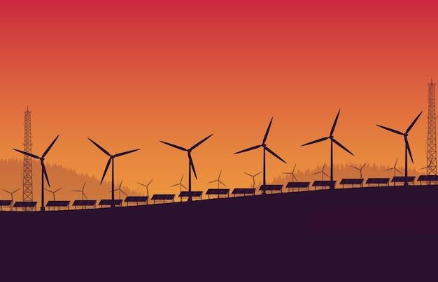 Granja de paneles solares de turbina eólica de silueta sobre fondo degradado naranja