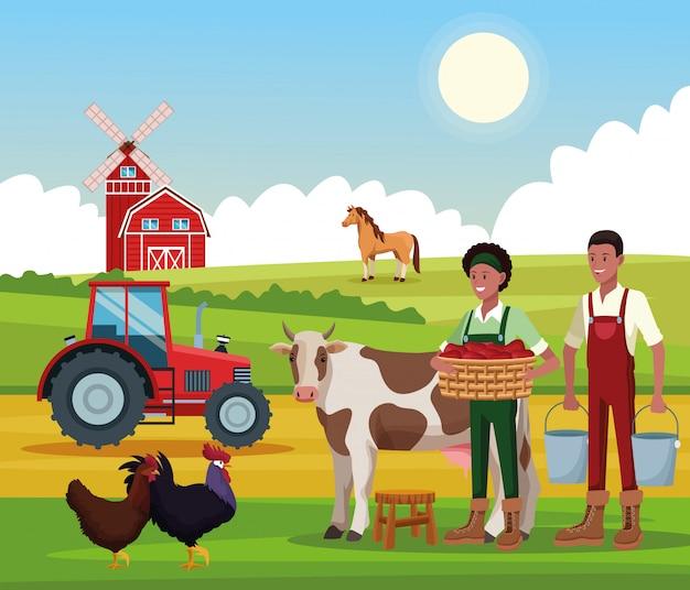 Granja rural de dibujos animados