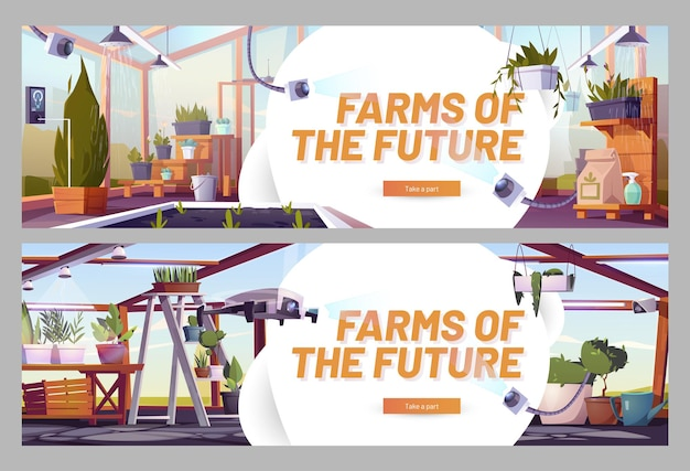 Granjas del futuro banners web de dibujos animados