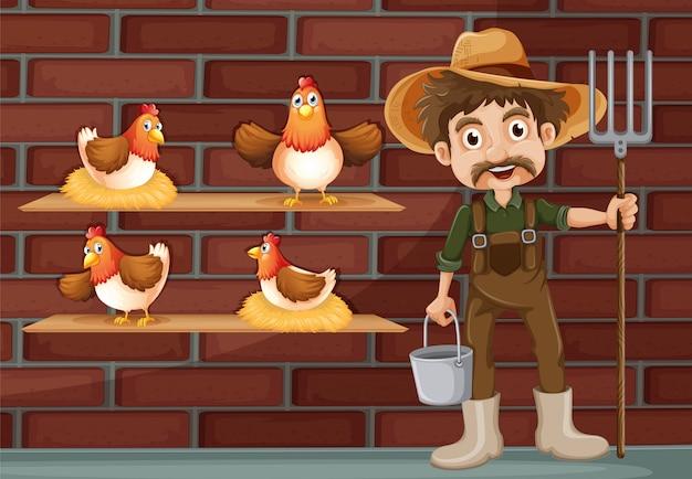Un granjero al lado de las cuatro gallinas.